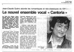 Naissance de l'Ensemble Vocal CANTORIA