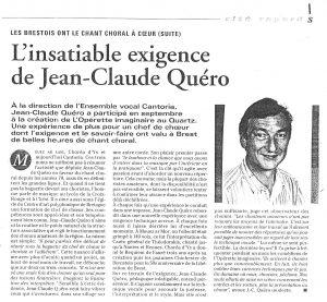 Le Chef de Choeur de Cantoria, Jean-Claude QUERO
