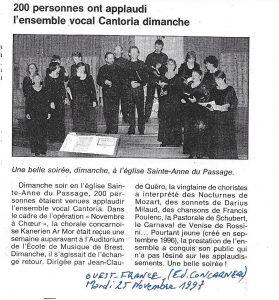 Le Choeur Cantoria de Brest applaudi à Concarneau