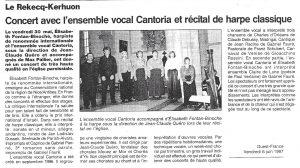 La Chorale Cantoria de Brest en Concert et Récital de Harpe Classique